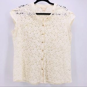 Michael Kors White Lace Sleeved Top (#1-00012)